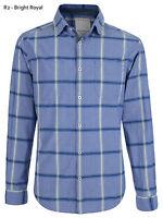 ESPRIT Mens Regular Long Sleeve Check Shirts Casual Cotton Shirt Bright Blue S