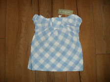 LITTLE LINENS BABY GIRL BLUE/WHITE CHECKED 100% LINEN SMOCK TOP AGE 12-18 MTHS
