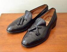 Vtg Johnston Murphy Aristocraft 9 D/B Black Wingtip Brogue Tassel Loafers USA
