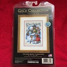 Dimensions The Gold Collection Vintage Merry Christmas Counted Cross Stitch RARE