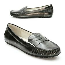 Michael Kors Ladies 8.5 M Daisy Metallic Silver/Gray Slip-on Moc Penny Loafers