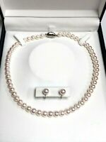 Beautiful Akoya Cultured Pearl 7.77 mm Earrings and 7.40 mm necklace pearl set