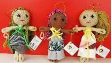 "3 YAYASAN KASIH PEDULI ANAK handmade 9"" wood wrapped yarn DOLL by BALI CHILDREN"