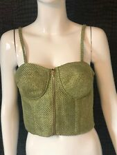 NEW WITH TAGS - AQ BY AQ AQUA BY AQUA GREEN CORSET TOP BRALET UK 10 PATTIZ