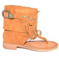Indianini donna cuoio estivi infradito alla caviglia freschi con fibbia frange r