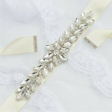 Silver Bridal Applique Diamante Rhinestone Headband Wedding Sash UK Seller.