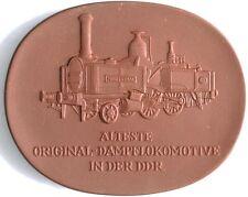 Porzellan Meissen Verkehrsmuseum Dresden Dampflok Medaille Böttger Steinzeug