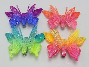 10 Mixed Color Glitter 3D Butterfly Hair Clip Lady Hair Headpiece Party Favors