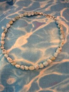 GENUINE NATURAL LARIMAR ANKLET 10 Inches Sterling Silver Lobster Clasp