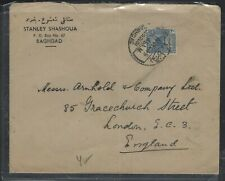IRAQ COVER (P1302B) 1945 20 F STATUE COVER TO ENGLAND