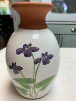 "Vintage Emerson Creek Pottery Vase Virginia Violets 8"""