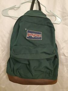 JanSport Backpack - Original Green w/Brown Leather Bottom - Made in USA - F/S