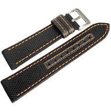 22mm Hadley-Roma MS848 Mens Black Nylon Leather Orange Stitch Watch Band Strap