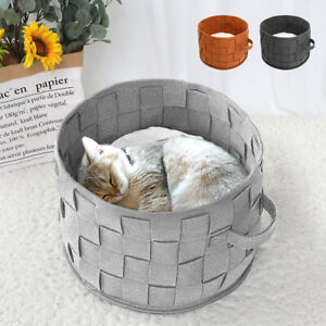 Dog Bed Basket with Handle Pet Cat House Sofa Kennel Nesting Bed Inner Mat Pad