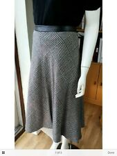 M & S collection-Grey wool blend A line skirt size 10 faux leather trim W30 L27