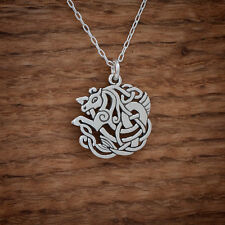 Handcast 925 Sterling Silver Celtic Horse Epona Pendant FREE Cable Link Chain
