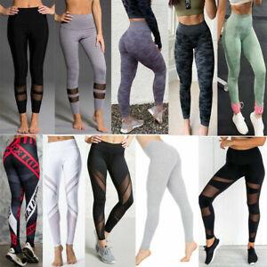 Damen Leggings lang hoher Bund verstärkt Hose Yoga-Hose Leggins Sporthalle