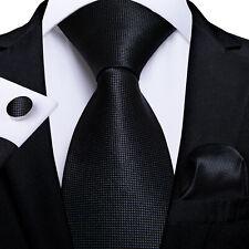 Silk Tie Black Solid Mens Necktie Jacquard Woven Handkerchief Cufflinks Formal