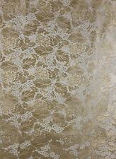 5 1/2 YDS GOLD BROCATELLE FABRIC Upholstery French Victorian Vintage Floral 1980