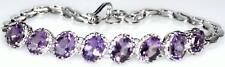 Rhodium plated 925 Sterling SILVER Bracelets Amethyst Gemstone Bracelet