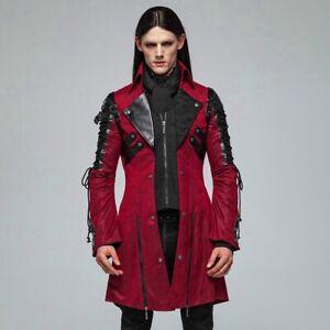 Punk Rave Gothic Military Victorian Kunstleder Herren Mantel - Poisonblack Rot