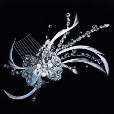 USA HAIR COMB use Swarovski Crystal Wedding Bridal Dancer French Twist Silver 13