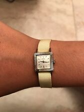 Tudor by Rolex Vintage Ladies Watch 18K White Gold Square 17 Jewel Rubies