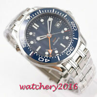 41mm bliger sterile blue dial GMT sapphire ceramic bezel automatic mens watch