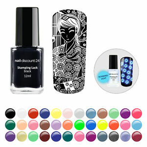 Stampinglack XL 12ml Stempel NAIL Konad Moyou Glitter Neon Pastell Nagel Lack UV