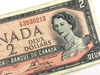 1954 Canada 2 Dollars Circulated VG Lawson Bouey Canadian Banknote N304
