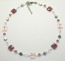 ZAUBERHAFTE Kette rosa amethyst GLAS QUADRATE  GLASPERLEN Rhomben SILBER 344b
