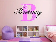 Monogram Wall Decal Floral Letter Name Monogram Girls Room Vinyl Wall Decal