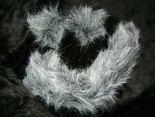 Dog Cat Wolf Ears And Tail Instant Fancy Dress Set Grey/White Tipped Faux Fur