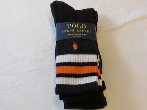 Polo Ralph Lauren Boys Socks 3 Pairs sock size 8-9.5 shoe size 13-3 Black