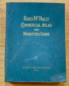 Rand McNally Commercial Atlas and Marketing Guide 1941 color 2-page state maps