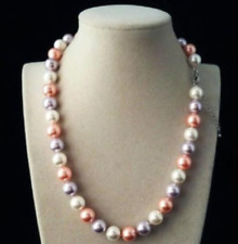 """10mm AAA+ white pink purple Multicolor south sea shell pearl necklace 18"""""""