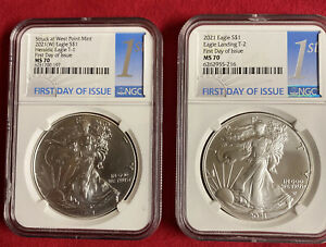 2021 Silver Eagle Type 1 And Type 2 NGC MS70 first Day Of Issue two coins