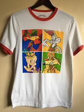 Looney Tunes Hip Hop Rapper Style Men's Graphic Ringer Tee White Size Small WORD
