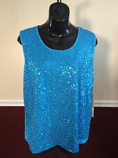 Laura Ashley Turquoise Sequined Front Sleeveless Poly Blend Shirt NWT! Pet Large
