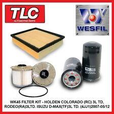 WK45 Air Oil Fuel Filter Kit RC Colorado RA Rodeo 3.0L T/Diesel 4JJ1 07-05/12
