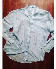 NEW Madewell Alexa Chung Button Top M Stripe Silk Blouse Jcrew Collar Down Tunic