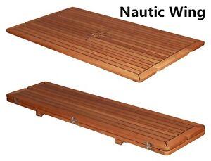 Nautic Folding Slide Teak Table Top Natural Teak Table Marine Boat Yacht RV