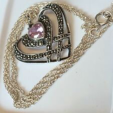 "Vintage Sterling Silver & Marcasite Double Heart Pendant Style 18 "" Necklace ~"