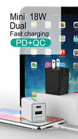 GT Life 18W Dual Wall Charger PD QC 3.0 Fast Charging Adapter for iPhone Samsung