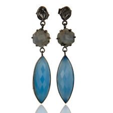 Black Oxidized Brass Dangle Earrings Natural Labradorite Blue Chalcedony Jewelry