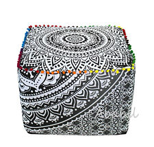 """18"""" Indian Cotton Square Pouf Cover Grey Ombre Mandala Ottoman Foot Stool Cover"""