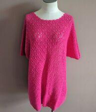 Diane Von Furstenberg Women's M Vtg Hand Crocheted Hot Pink Short Sleeve Sweater