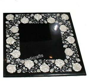 16 x 16 Inches Square Marble Side Table Top Inlay Mother of Pearl Coffee Table