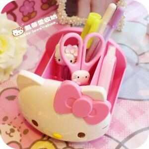 New Approx 13cm x 10cm x 13cm Pink Colour Lovely Hello Kitty Desk Storage Box