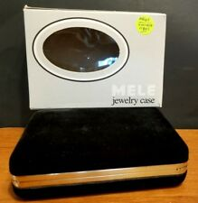 Vintage MELE Black Velvet Jewelry Case with Mirror and  Removable Button Pouch